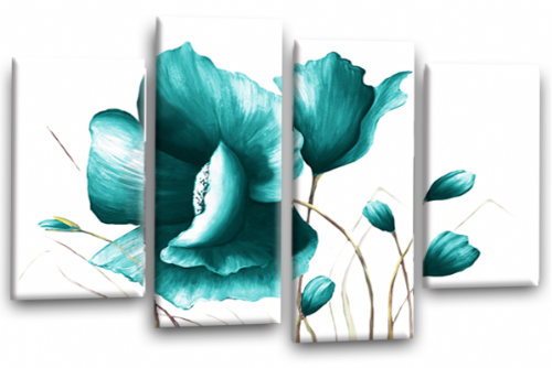 Teal White Flower Canvas Wall Art Floral Painting Picture Print Split Panel